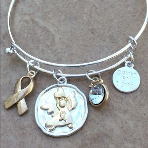 Two Tone Cancer Ribbon Saved by Love Bangle